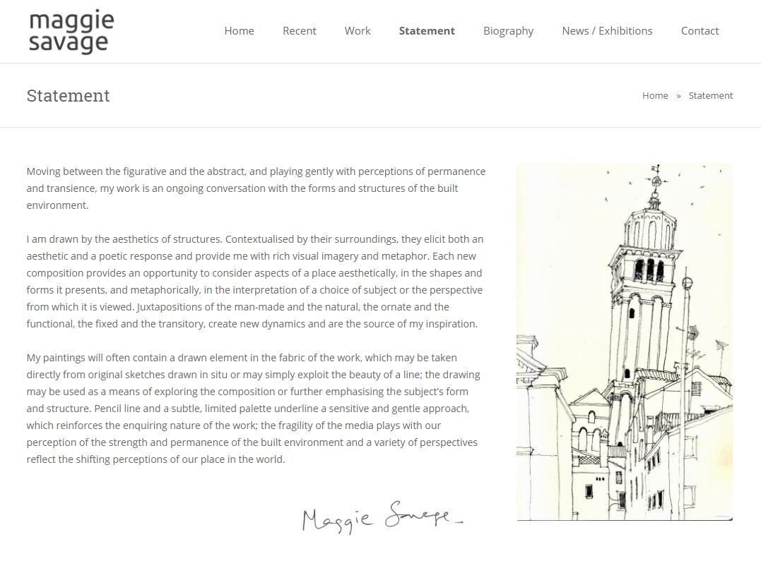 Maggie Savage – Statement